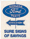 Ford Genuine Parts Sure Signs Of Savings steel sign (st)
